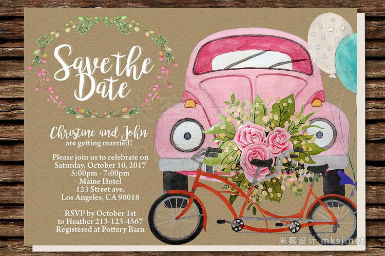 png素材 DIY Wedding Car Printable Invitation