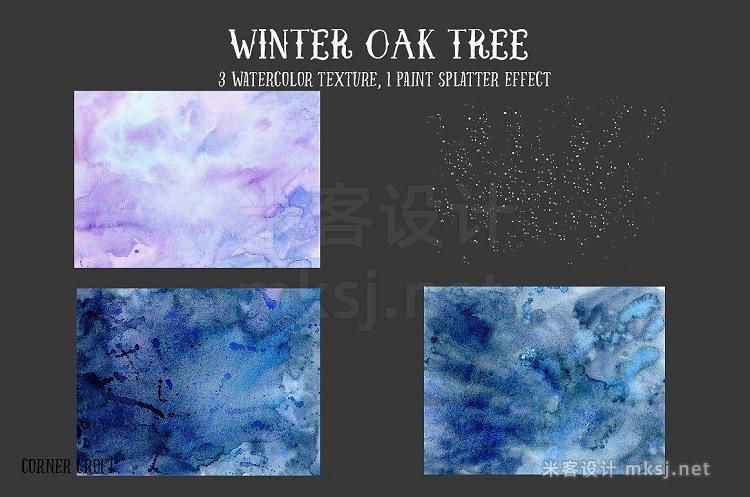 png素材 Watercolor Clipart Winter Oak Tree