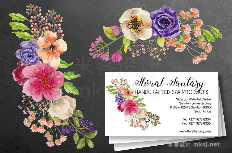 png素材 Watercolor wreath of mixed florals