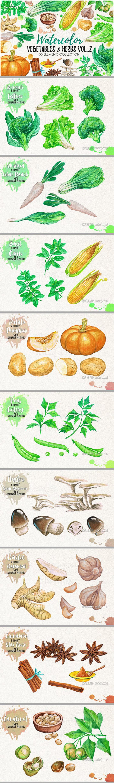 png素材 Watercolor Vegetables Herbs Green