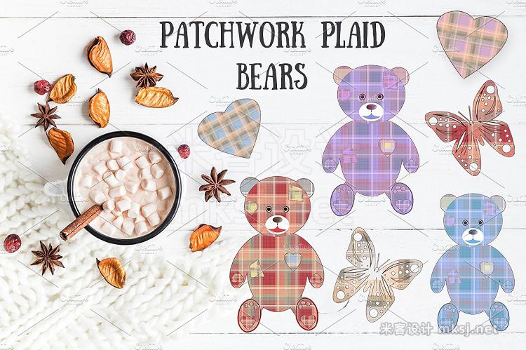 png素材 SALE PATCHWORK PLAID BEARS set