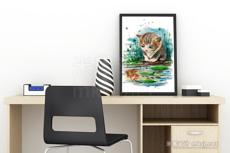 png素材 watercolor cat and goldenfish