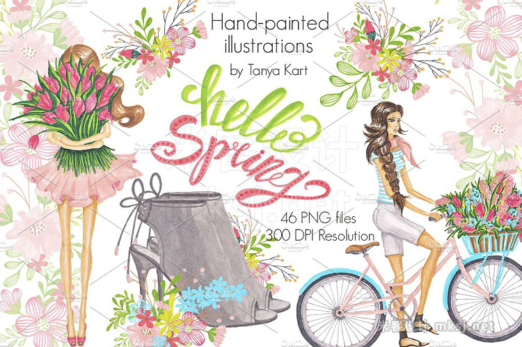 png素材 Spring Floral Hand-painted clipart