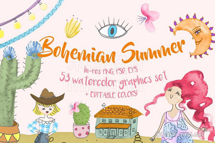 png素材 Bohemian Summer Watercolor Set