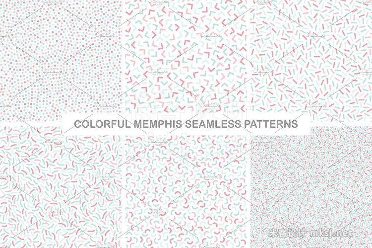 png素材 Delicate colorful seamless patterns