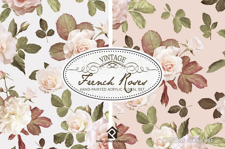 png素材 Vintage French Roses - Acrylic Paint