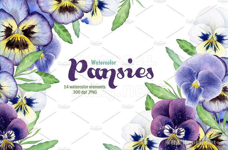 png素材 Watercolor pansies