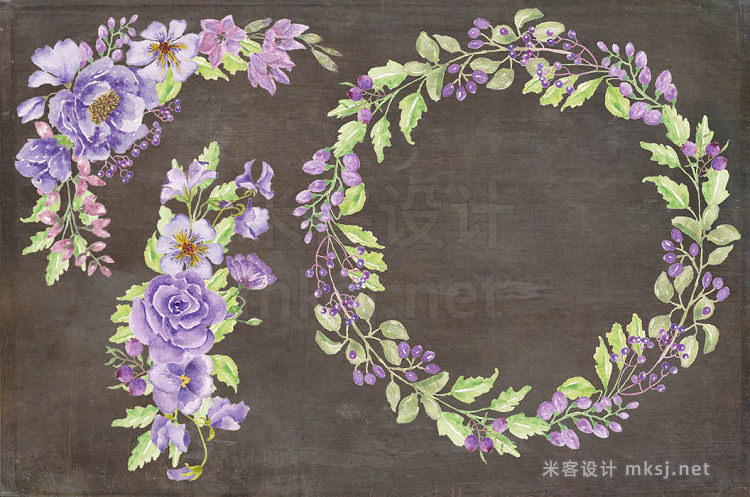 png素材 Watercolor bundle 'Purple Passion'