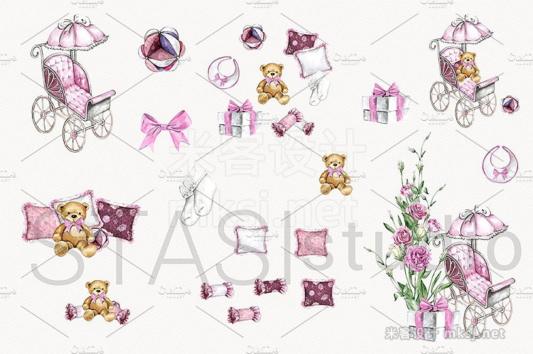 png素材 Watercolor Baby Girl Clipart