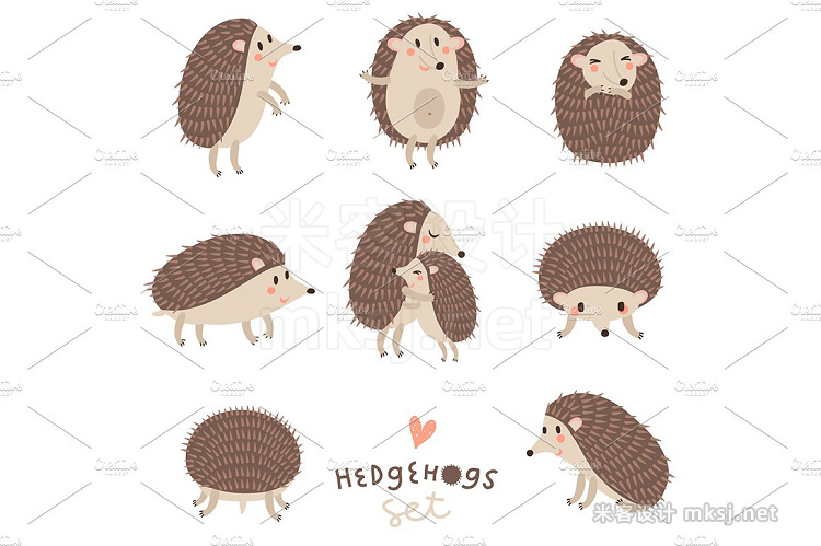 png素材 HEDGEHOGS Cute vector set