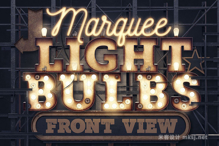 png素材 Marquee Light Bulbs - Front View