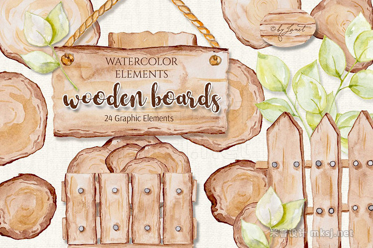 png素材 Wooden Boards Watercolor