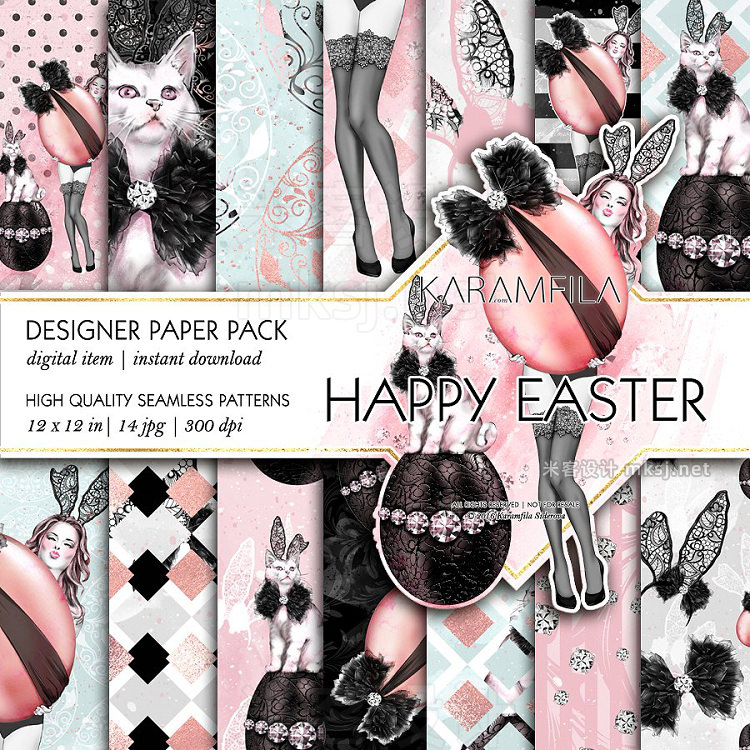 png素材 Happy Easter Seamless Patterns