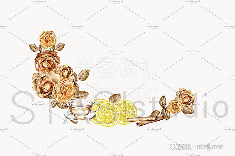 png素材 Tea Time Watercolor Clipart