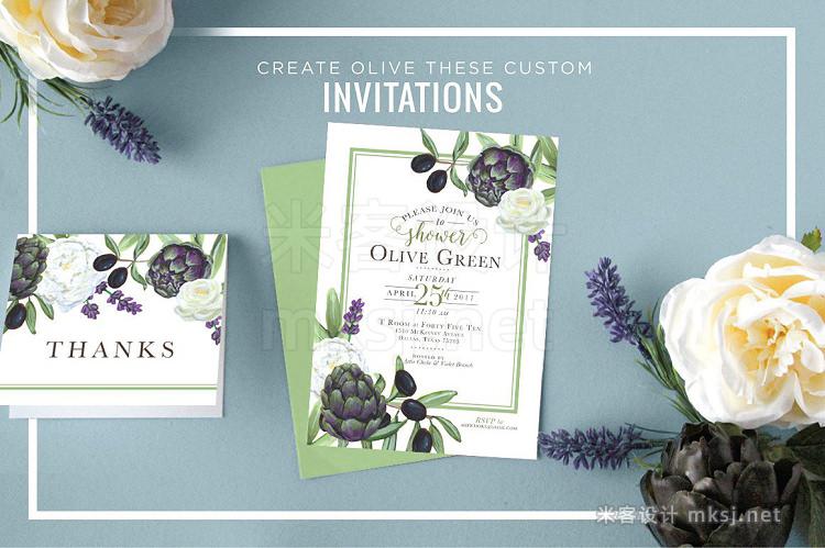 png素材 Artichoke Olive Floral Design Kit