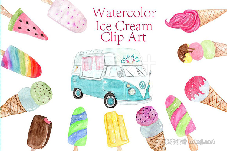 png素材 Watercolor Ice Cream clipart