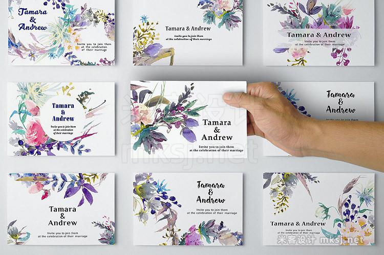 png素材 Meadow watercolor floral set