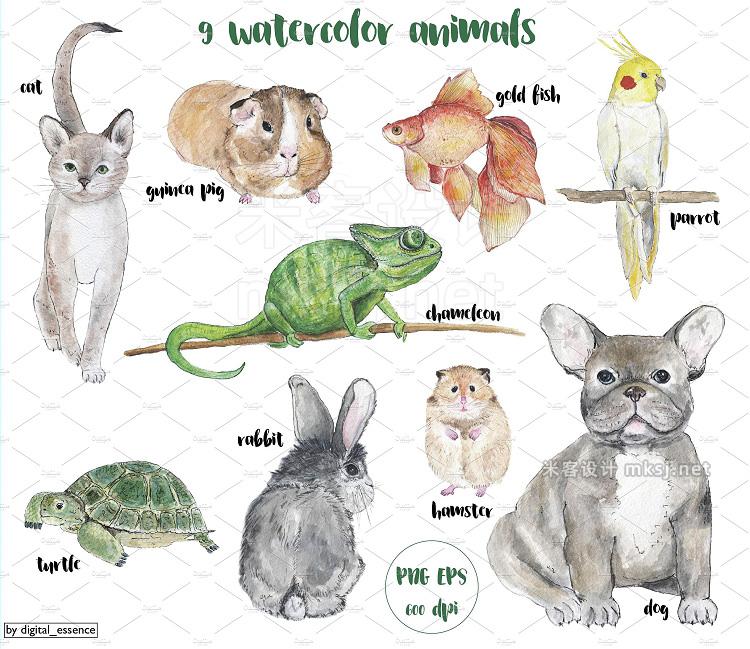 png素材 PETS Watercolor set