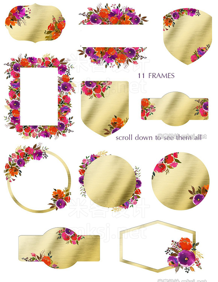 png素材 Carousel Watercolor Floral Clip Art