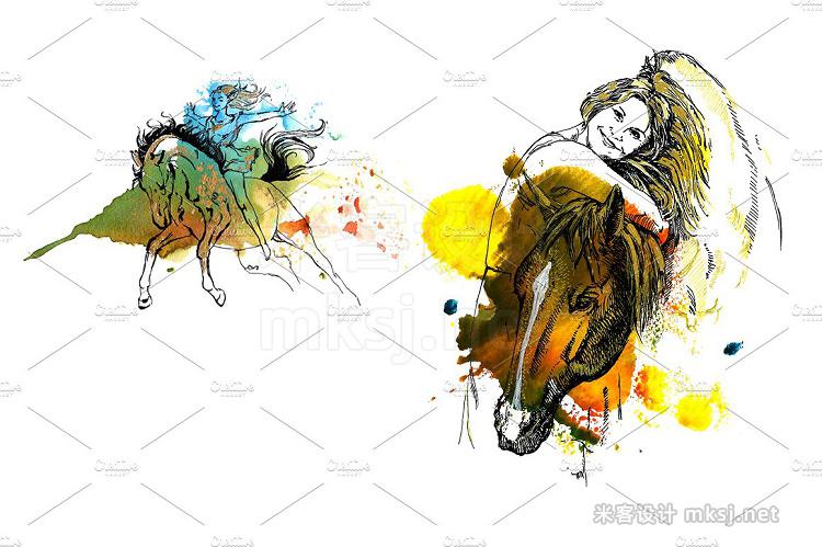 png素材 Horse Watercolor Monotype Art