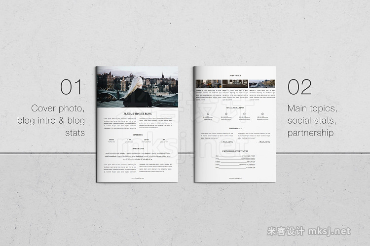 png素材 3 Page Press Kit for Bloggers