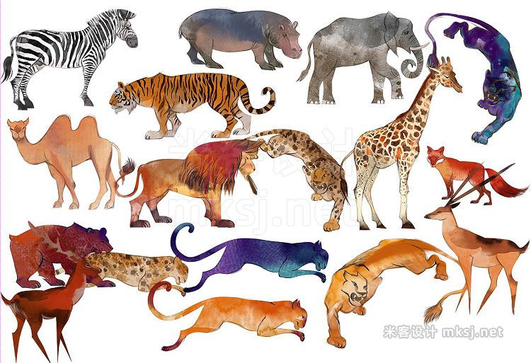png素材 Watercolor animal set