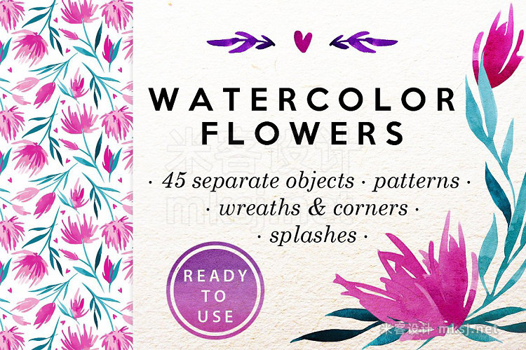 png素材 Watercolor Flowers Clip-Art Set