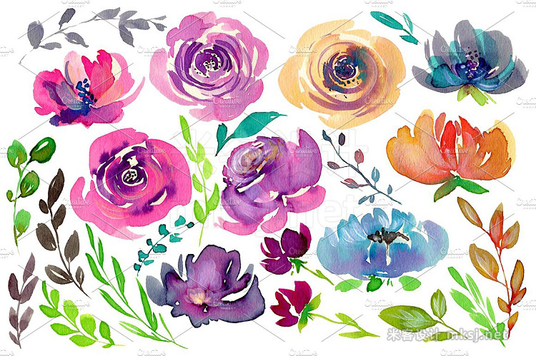 png素材 Watercolor bright flowers branches
