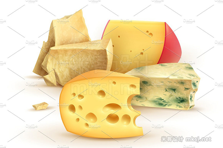 png素材 Cheese Realistic Set