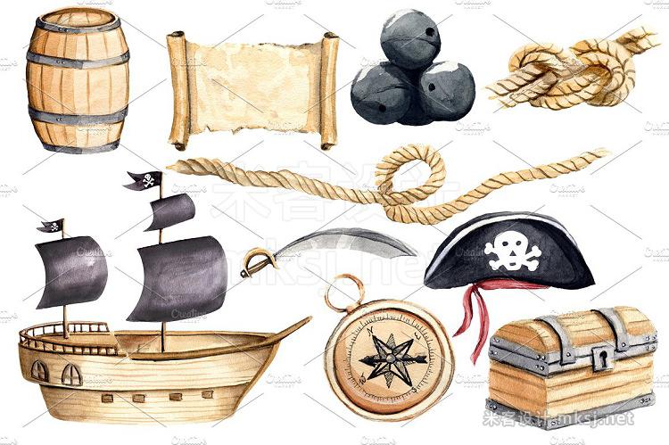 png素材 Pirates Clipart Watercolor Set
