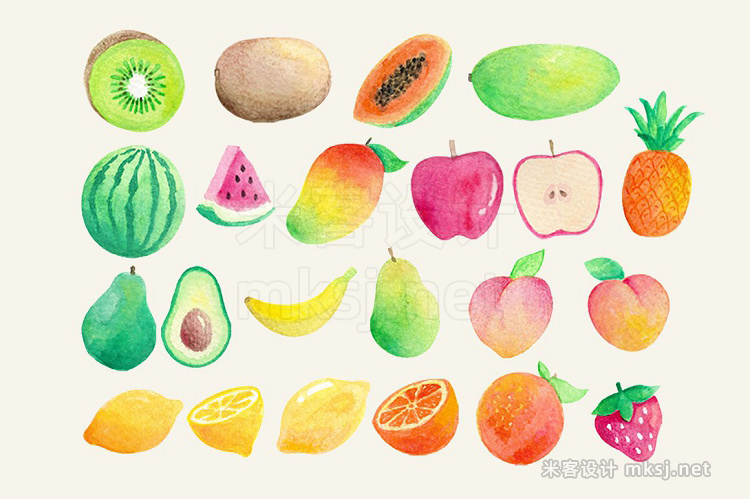 png素材 Watercolor Fruits Clip Art