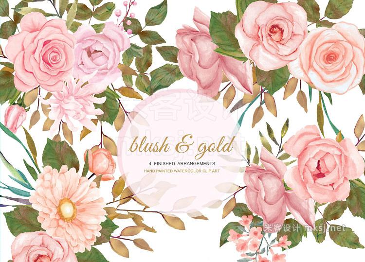 png素材 Watercolor Blush Gold Rose Clip Art