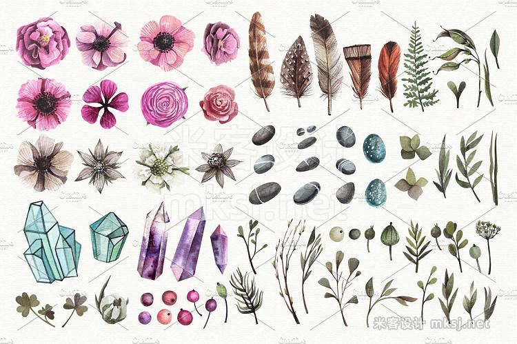 png素材 Big flowers crystals bundle