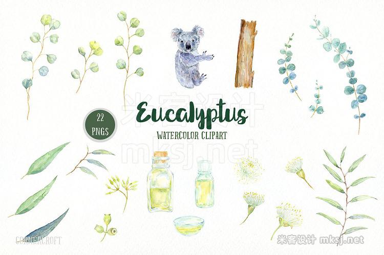 png素材 Watercolor Eucalyptus Koala Clip Art