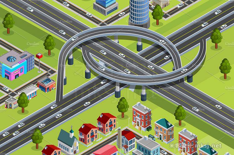 png素材 City Map Isometric Elements Set