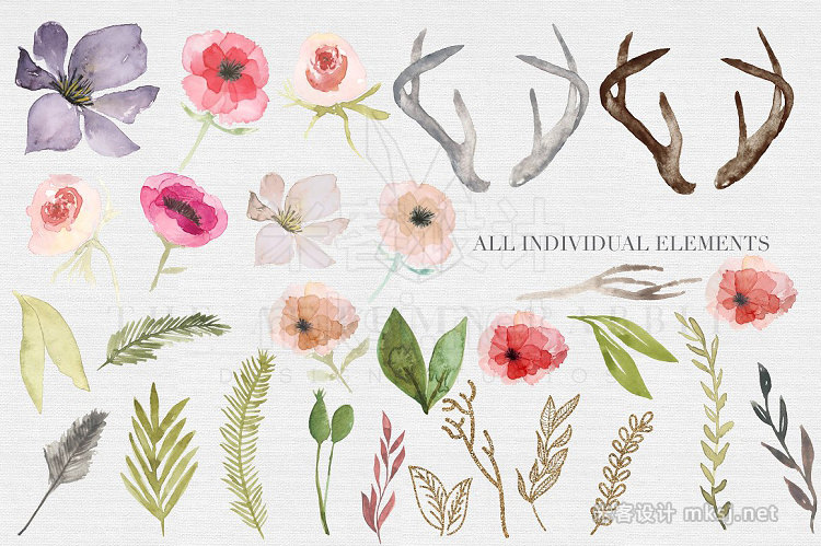 png素材 Antlers flowers Watercolor Clipart