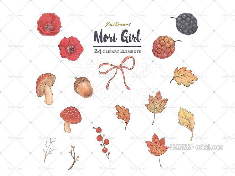 png素材 Mori Girl Clipart Set