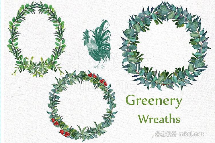 png素材 Watercolor Fern Wreaths clipart