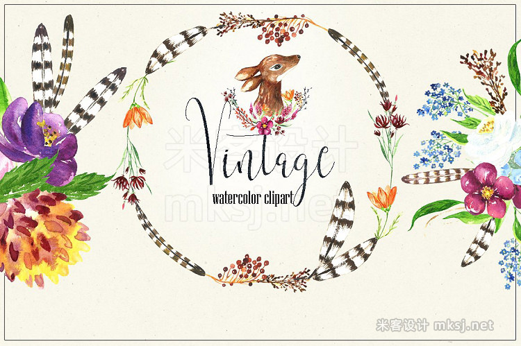 png素材 Vintage flowers berry Watercolor