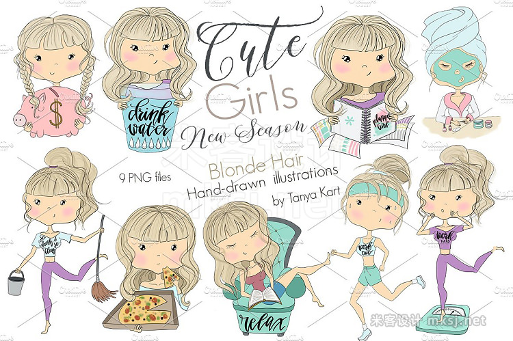 png素材 Cute Girls Blonde Hair Collection