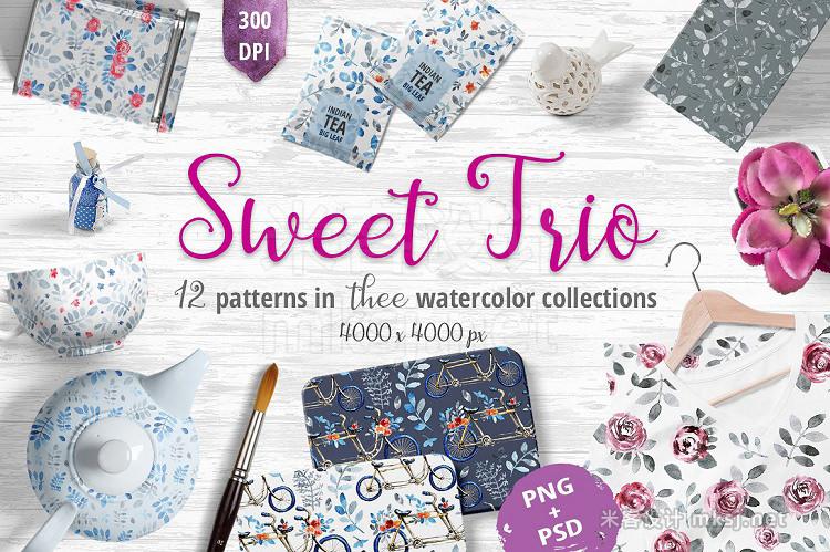 png素材 Sweet Trio - pattern set
