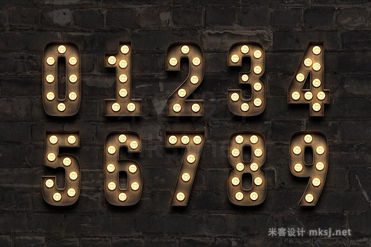 png素材 Marquee Light Bulb Sign Letters