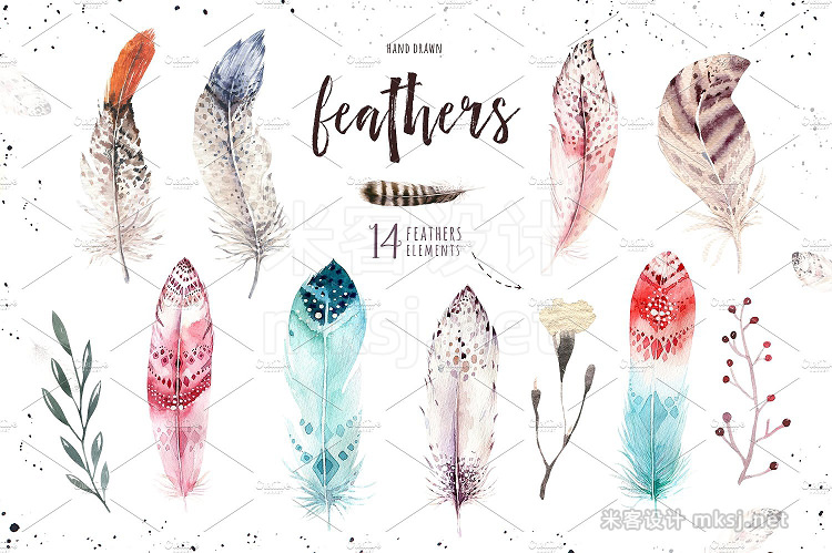 png素材 Watercolor owl feathers collection