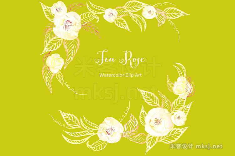 png素材 Tea  roses set Watercolor Cip Art