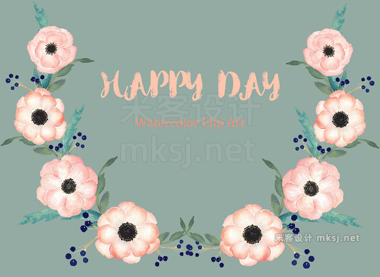 png素材 Anemones Apricot Watercolor Clipart