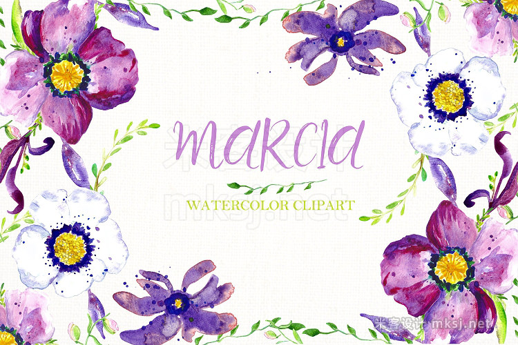 png素材 Anemone flowers Watercolor clipart