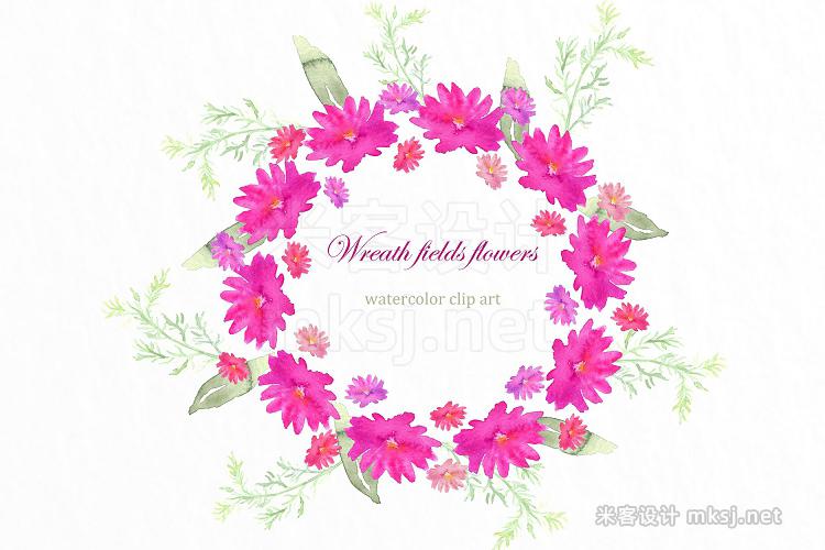 png素材 Wreath fields flowers clip art