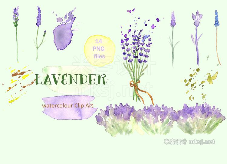 png素材 Lavender watercolor clip art
