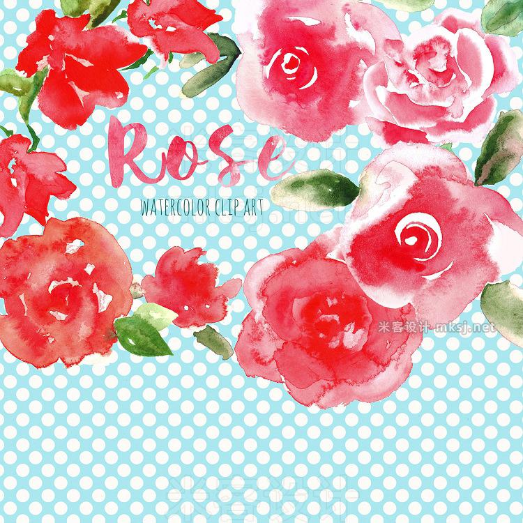 png素材 Red Rose Watercolor clip art