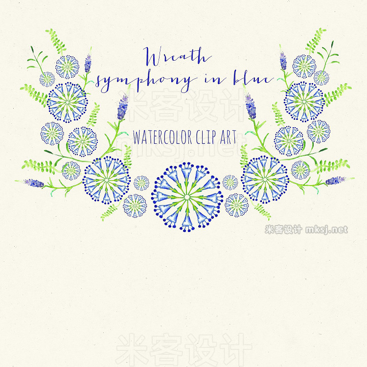png素材 Wreath symphony in blue watercolor